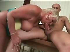 Horny granny tastes her pussy juices from partner`s cock.